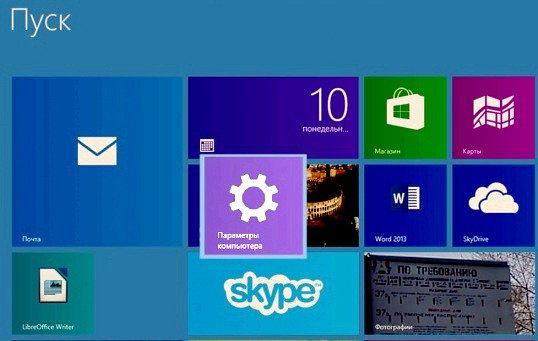 Як помістити параметри комп'ютера на початковий екран в windows 8.1