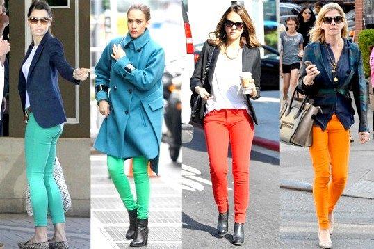 З чим носити помаранчеві або салатові джинси