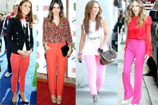 З чим носити рожеві і червоні штани