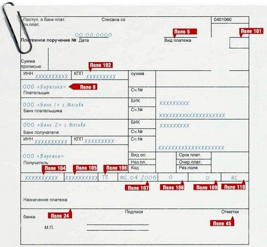 Порада 1: як заповнити платіжне доручення на оплату податків