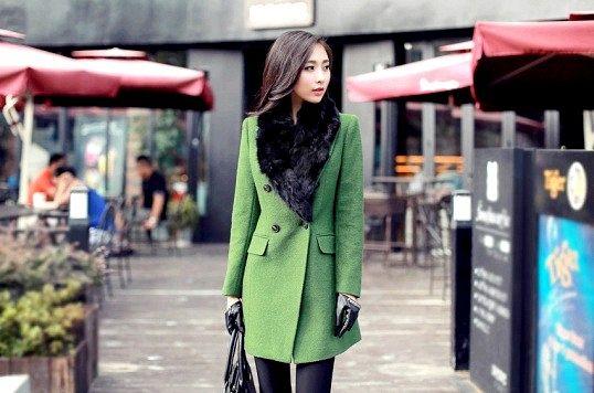 Зелене пальто - один з яскравих трендів 2014